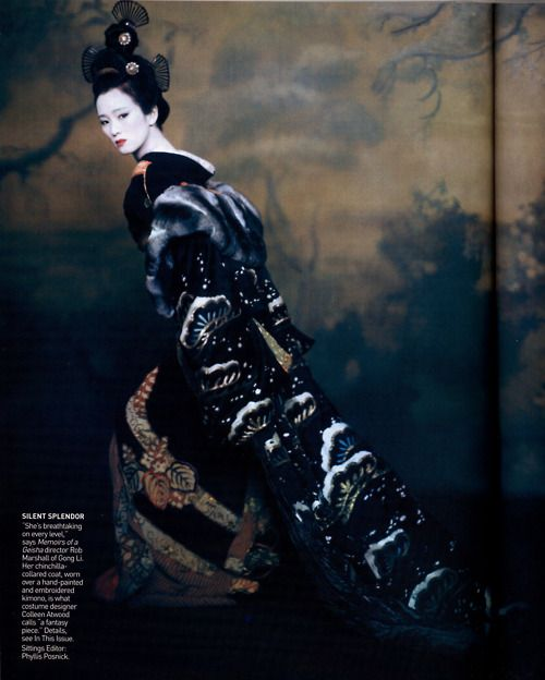 Gong Li in Memoirs of a Geisha: Paolo Roversi, Couture Gowns, Geishas, Colleen Atwood, Gong Li, Japan Beautiful, Costume, Vogue Magazines, Kimonos