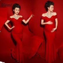 Accesorios de Fotografía de maternidad Vestido de Embarazada Vestido Maxi Atractivo Del Cuello Del Barco de Color Rojo Vestido de Maternidad Ropa de la Sesión de Fotos(China (Mainland))
