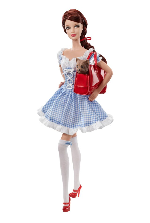 In this thoroughly modern take on Dorothy from the Wizard of Oz, Miss Dorothy Gale wears a cute short petticoat dress, white thigh high stockings, and stylish red sandals. A chic red handbag with graphic print of her little dog Toto complete the look.
