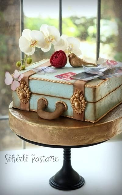 Suitcase Cake with White Orchids by Sihirli Pastane