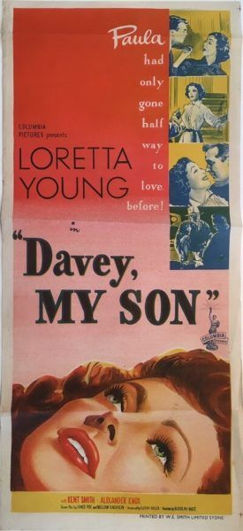 Davey My Son (Paula) original 1952 Australian/NZ Daybill movie poster, staring Loretta Young. Available for purchase from our website.