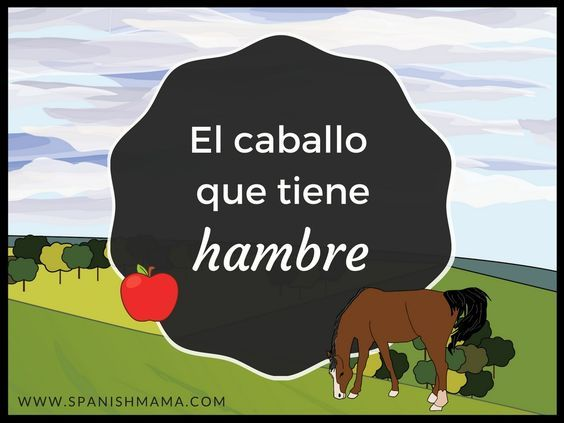 El caballo que tiene hambre- a mini-cuento for preschool Spanish for teaching animals and food. Preschool lessons based on comprehensible input.