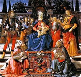 Domenico Ghirlandaio (Italian, 1448–1494), The Madonna and Child adored by St Zenobius and St Justus, c. 1483, Uffizi, Florence.