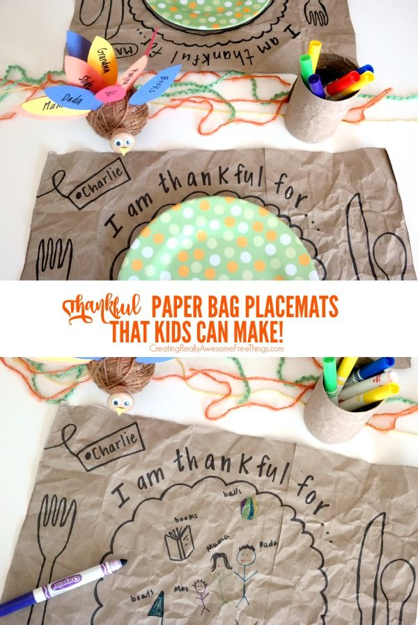 I love these thankful placemats made from brown grocery store bags... cute, easy, and free!