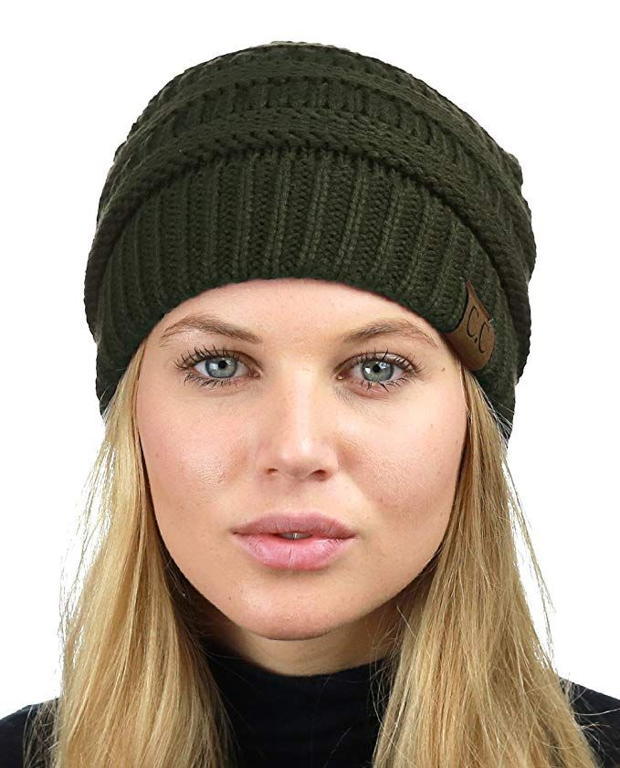 9217c677979  12.99 C.C Unisex Chunky Soft Stretch Cable Knit Warm Fuzzy Lined Skully  Beanie