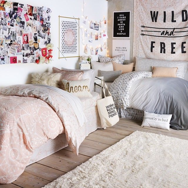 love the soft pastel colors in this dorm room decor ~ we ❤ this! moncheriprom.com