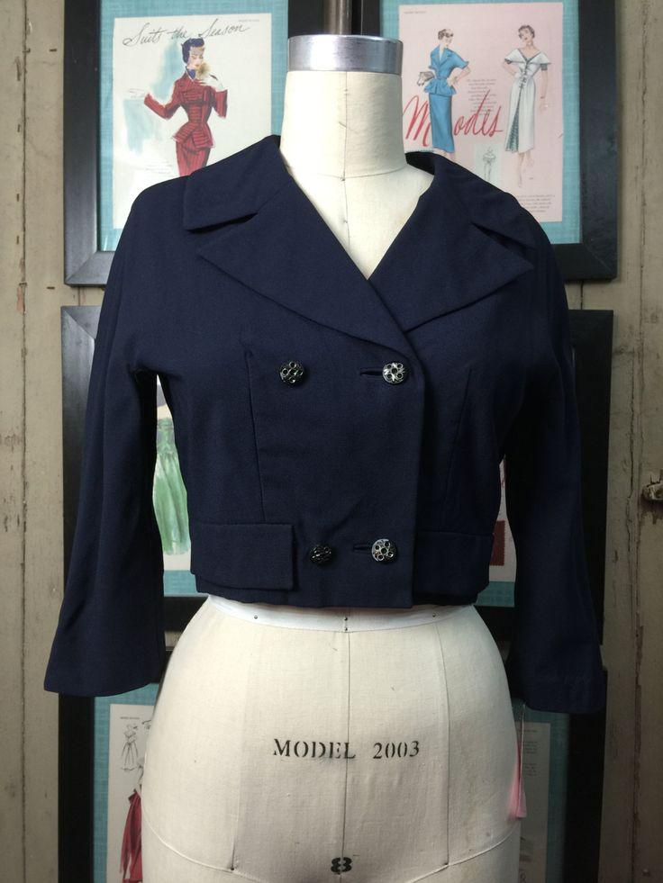 1960s cropped jacket 60s navy blue jacket size medium Vintage military style jacket by melsvanity on Etsy