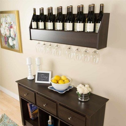 hanging wine glass storage shelf wall rack kitchen dining. Black Bedroom Furniture Sets. Home Design Ideas