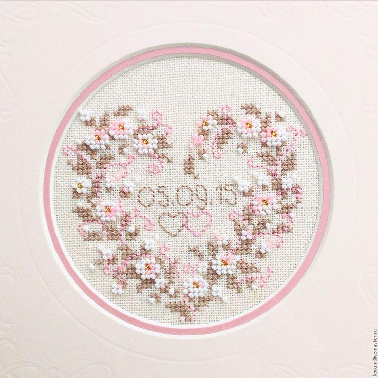"""Купить Вышивка """"Дата свадьбы"""" - бледно-розовый, нежность, романтика, романтический подарок, Вышивка крестом"""