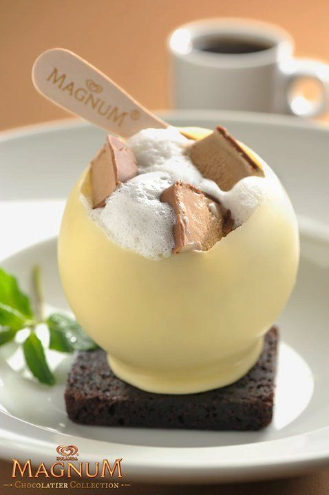 Challenge yourself! Chocolate Magnum Ice cream pieces inside a white chocolate sphere covered in a foamy bath
