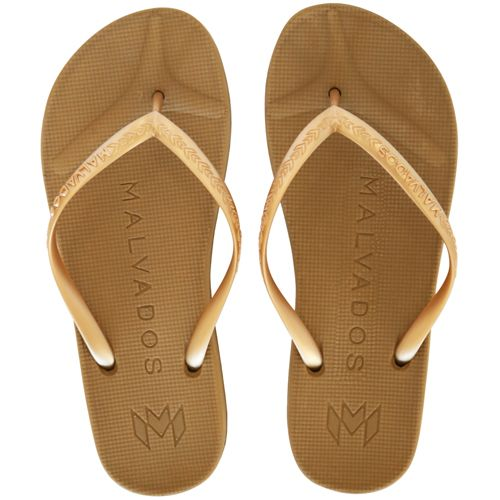 Malvados Playa in Fools Gold color for extra cushiony comfort flip flop with molded footbed
