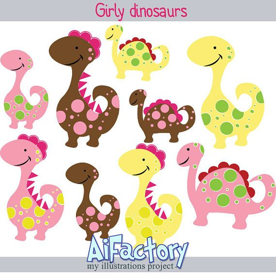 Items Similar To Girly Dinosaurs Clip Art Digital PNG Clipart On Etsy