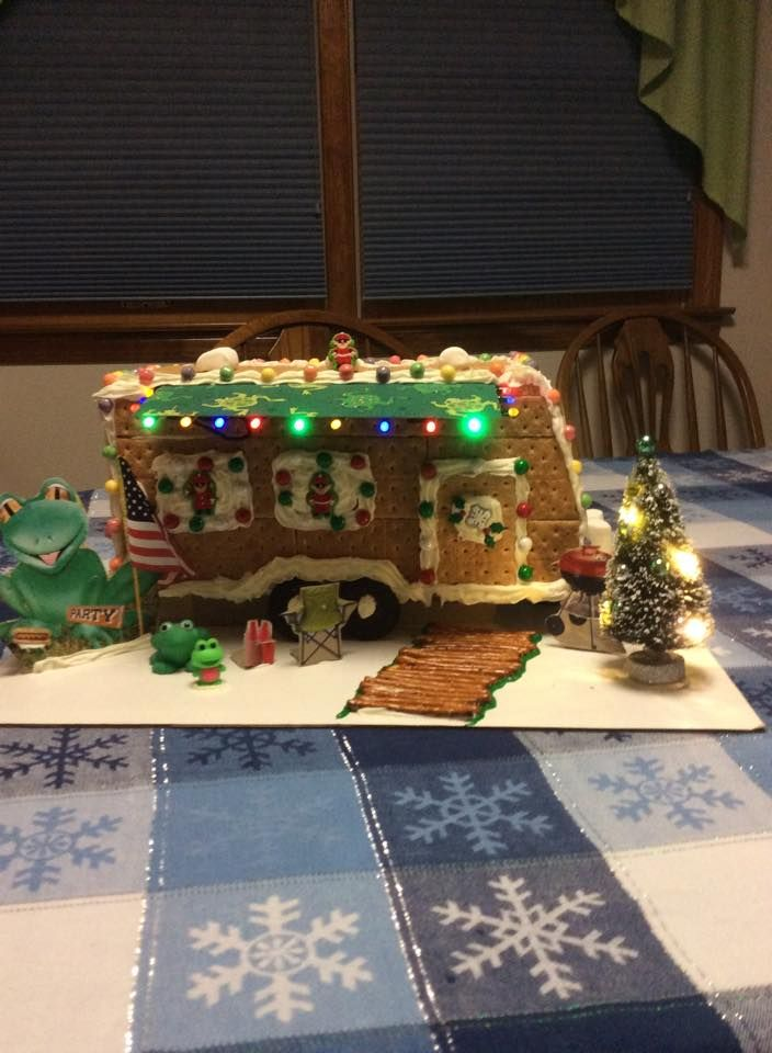 """Here is a creative alternative-the holiday gingerbread house """"camper"""" complete with lights! via Jeanne Giarratano"""