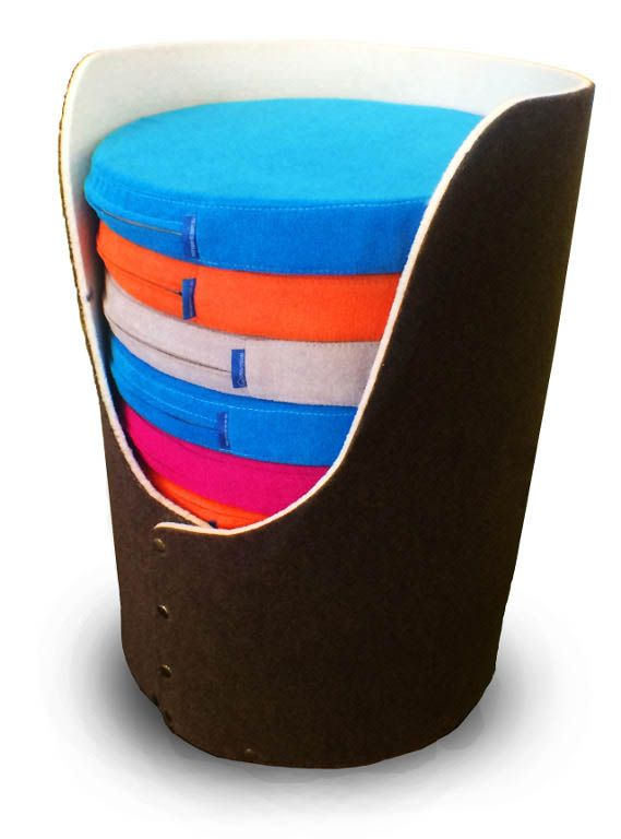 The Seat Pad Caddy holds 10 Seat Pads which can be used for as a seat cushion, back rest, or lap desk. An original design from NorvaNivel.