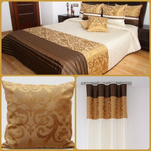 Luxusný dekoračný set do spálne béžovo-hnedej farby so zlatými ornamentami