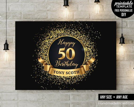 50th Birthday Party Backdrop Black And Gold Fifty And Fabulous