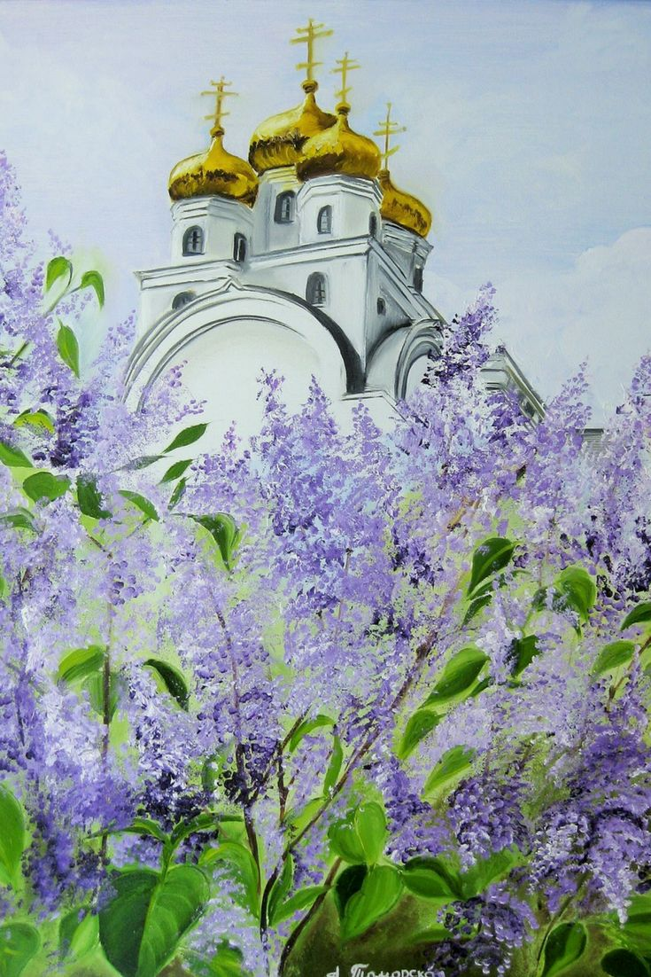 """A Church in Blooming Lilac. Original Painting on Canvas. Personalized Gift. Wall Art. Wall Decorating. Modern Art. Contemporary Art. Canvas Painting. Perfect Gift for Her. Wall Decoration. Landscape Painting. 2017, 16"""" x 20"""". 40,6 x 50,8 cm. Unframed. AVAILABLE FOR IMMEDIATE PURCHASE. Ready to hang. Painted edges."""