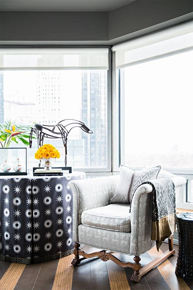 See Vern Yip and husband Craig Koch's stunning Manhattan apartment overlooking Central Park and Columbus Circle. The interior designer and HGTV star uses his latest Trend textile and furniture creations. For more celebrity home tours go to Domino.