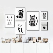 Gato preto e Branco, animais Citação Modern Poster Impressões de Lona Cópias Da Arte Da Parede Da Lona Retratos Da Parede para Sala de estar sem moldura(China (Mainland))