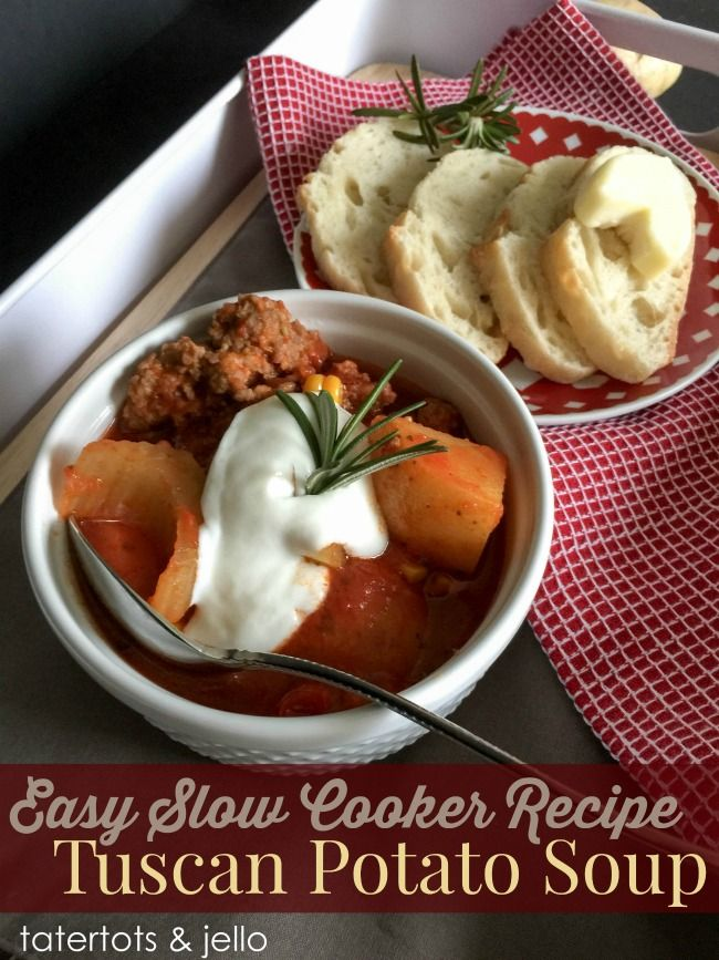 Easy Tuscan potato soup recipe for your slow cooker. Add sausage or make vegetarian!