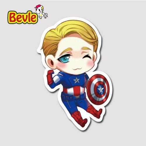 Bevle 9635 Мститель Marvel Super Hero Капитан Америка Водонепроницаемый Наклейки Прилив Мультфильм 3 М Стикер Холодильник Скейтборд Автомобилей Граффити