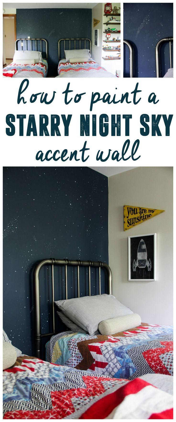 Night Sky Accent Wall, Starry Sky Mural, Star Accent Wall www.BrightGreenDoor.com
