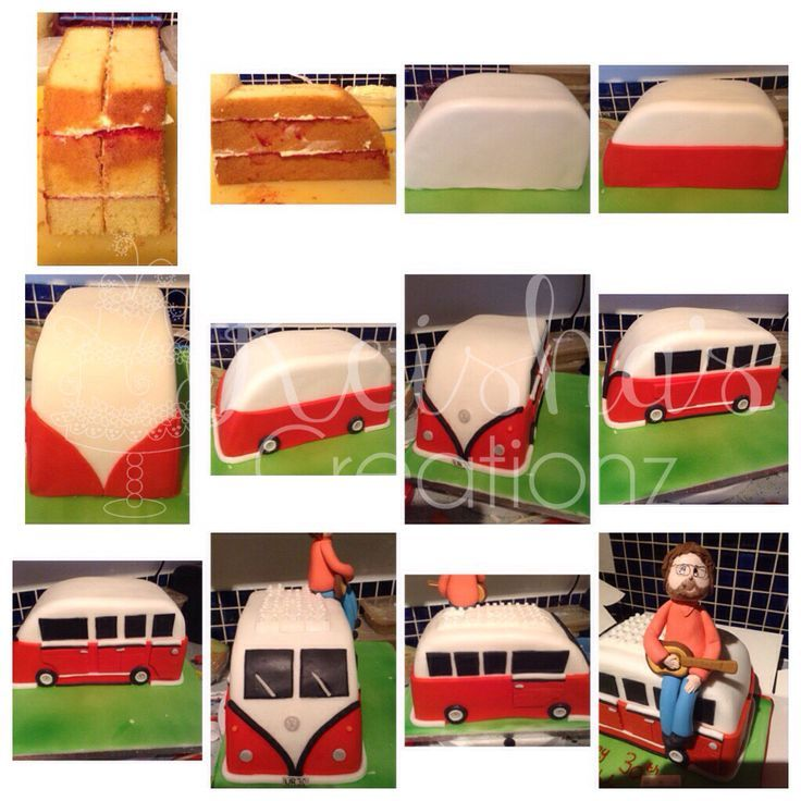 Lego VW Campervan cake construction steps by Keisha's Creationz #tutorial