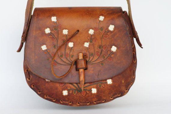 Boho Hippie Leather Purse 1960s