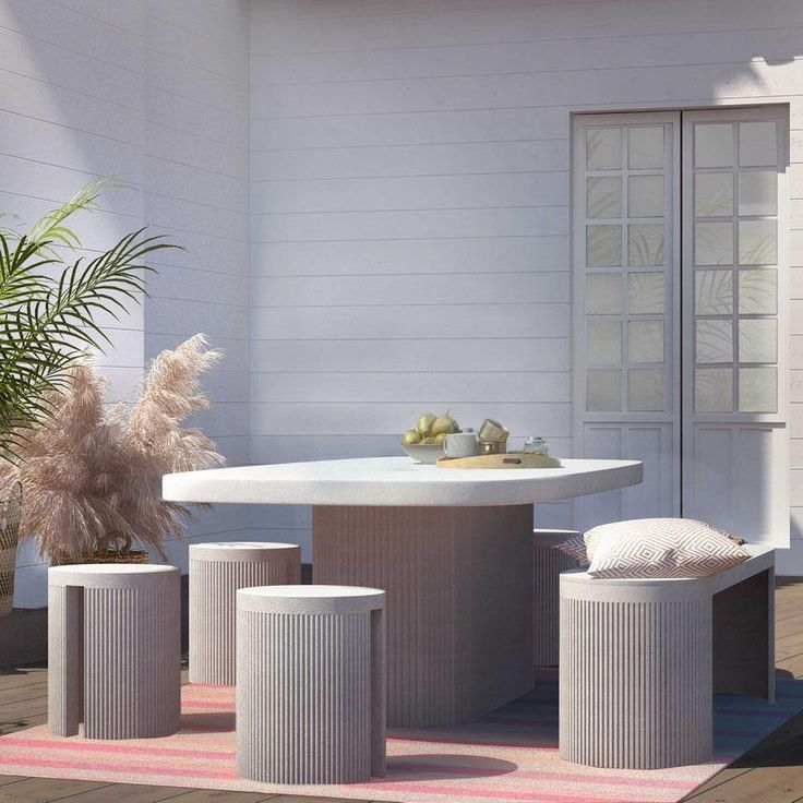 Shop the Roman Modern Classic White Concrete Dining Table and other Dining Tables at Kathy Kuo Home Outdoor Furniture Sets, Apartment Living, Modern Classic, Concrete Dining Table, Concrete Stool, Casual Kitchen Table, Concrete Bench, White Concrete, Outdoor Safes