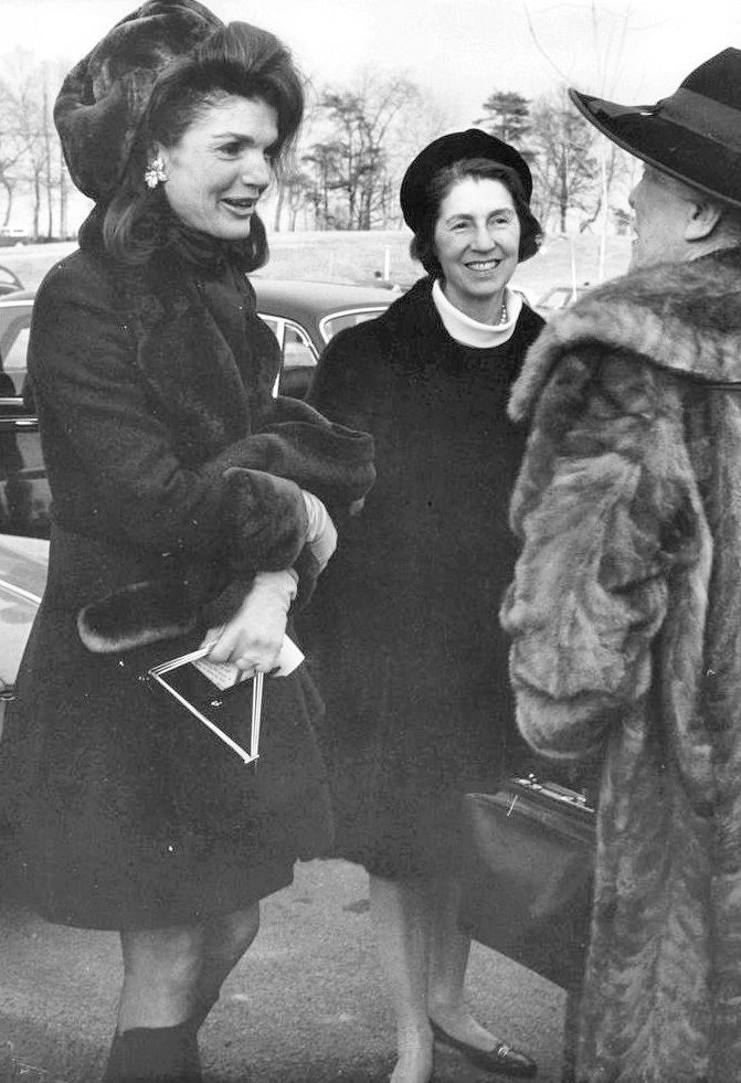 Jackie Onassis, with her mother and Alice Roosevelt Longworth, at the christening of Rory Kennedy in January 1969.
