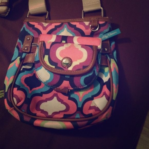 Lily Bloom Crossbody Bag with detachable wallet Colorful pattern. Slightly used. Good condition. Lily Bloom Bags Crossbody Bags