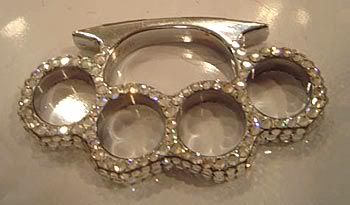 Brass knuckles with diamonds what every girl needs