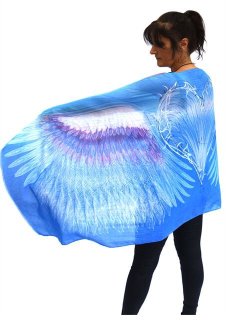 Blue Angel Wings Scarf, Valentines Gift, Boho Chic Wings Shawl