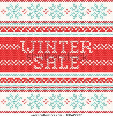 Winter Sale - northern style knitted pattern - stock vector. Knitting ornaments.