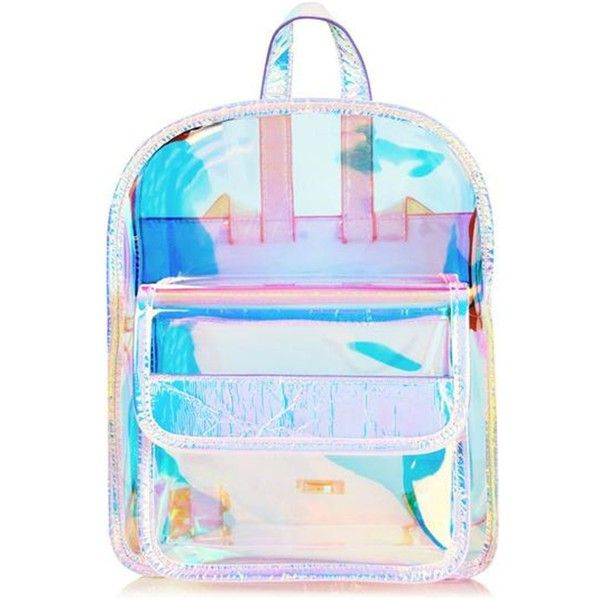 Skinnydip Clear Holographic Backpack (610 MXN) ❤ liked on Polyvore featuring bags, backpacks, accessories, bolsos, knapsack bag, blue bag, holographic bags, crystal clear bags and clear bags