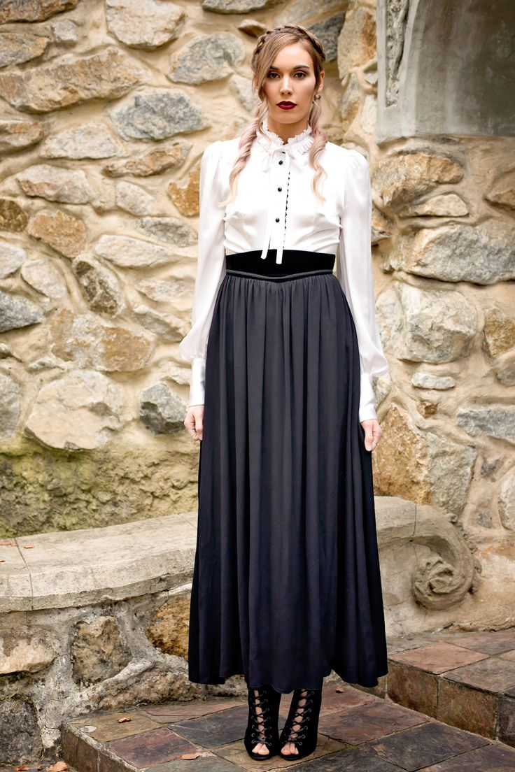 New Moon Look Book  Anne skirt. Anne is made from a beautifully flowing crepe with a velvet waist. The velvet is then trimmed with a braided trim to add the perfect amount of detail yet still simple enough to be styled with just about anything. Anne: http://www.darkthornclothing.com/collections/new-moon/products/anne-skirt-pre-order   Photography: Magic Memories by Erika     Model: Maddison Chapman    Makeup: Yassmin Abdo     Hair: Eva Lu     Location: Thorngrove Manor