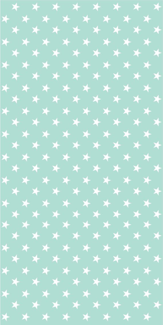 Vinyl wallpaper. Self-adhesive aqua with white stars by Yaelyaniv