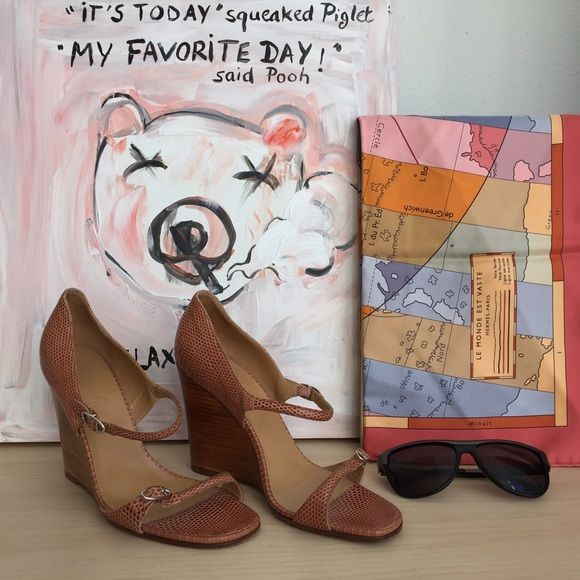 """Luxury Hermes shoes Authentic one of a kind Hermes platform sandals. 4 """" wood heel, salmon pink snake skin leather. Previously worn. Come with Hermes dust bag. Hermes Shoes"""