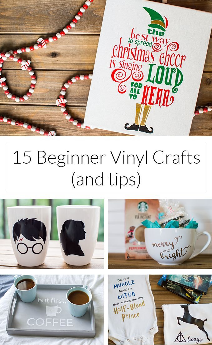 A roundup of 15 beginner vinyl crafts (& tips) that are easy and fun to try, whether you just bought your Silhouette machine or have had it for a while!