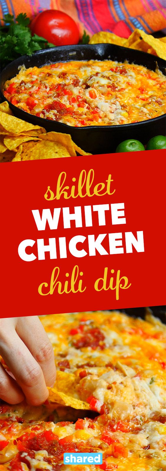 Skillet White Chicken Chili Dip - This Skillet White Chicken Chili Dip is one of those dips you bring out when you really want to impress! People won't be able to stop dipping their chips in - it's addictive ooey gooey cheesy goodness! Just wait until you add this to your recipe arsenal - you're going to love it.