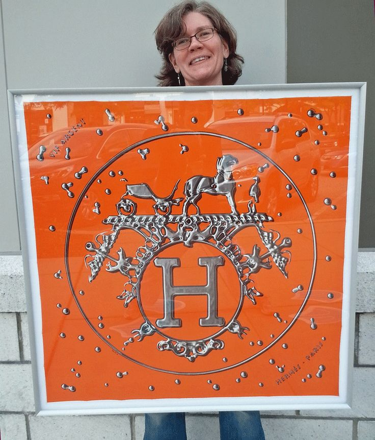 We Framed This Stunning Silk Hermes Scarf On White Linen