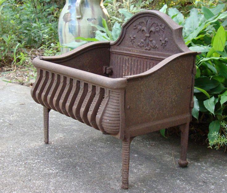 Victorian Antique Cast Iron Fire Place Grate Log Box