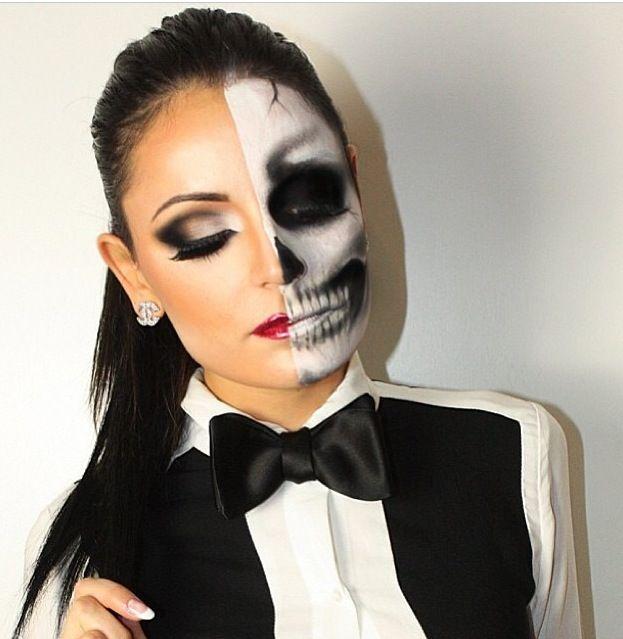 Amazing half skull half glam makeup