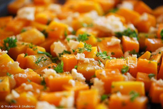 Probieren und Studieren : Butternusskürbis aus dem Ofen mit Honig & Feta