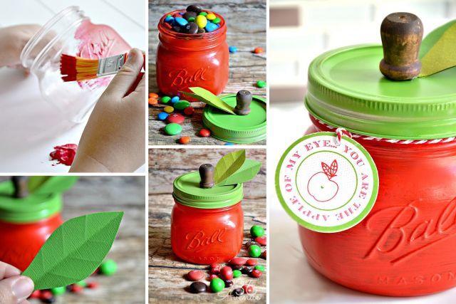 Bricoler un cadeau pour son enseignant ou son éducatrice - Transformer un pot Mason en pomme de rangement