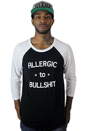 Allergic To BS Black Baseball Tee by Entree LS $36