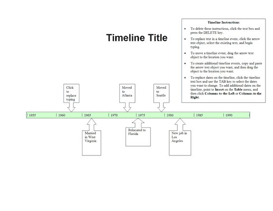 Use this template to create a timeline for a project or report. It features a title, customizable timeline with events and instructions for using the template.