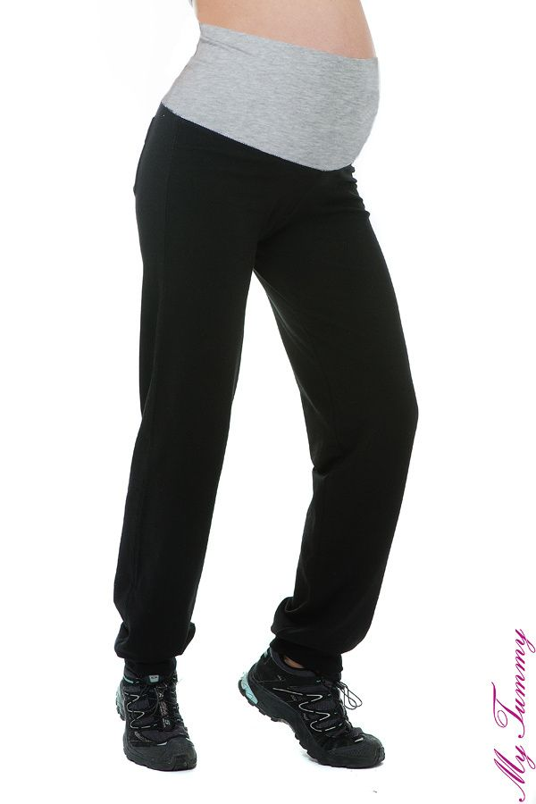 Le pantalon de fitness de grossesse avec une bande gris