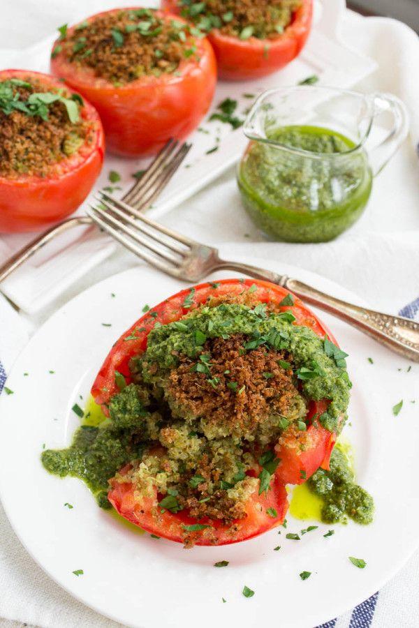 Vegan Basil Pesto + Quinoa Stuffed Tomatoes by Parsley In My Teeth ...