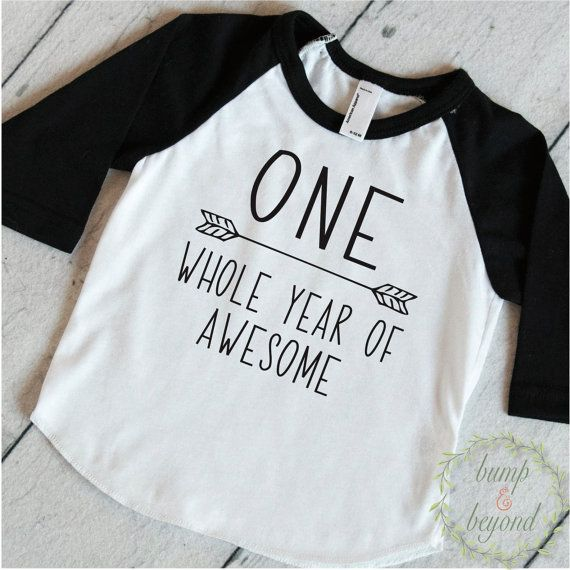 1st Birthday Boy Shirt, One Whole Year of Awesome - This first birthday shirt is perfect for your little ones birthday party or all year round! We at Bump and Beyond Designs love to help you celebrate lifes precious moments!  This American Apparel raglan shirt is super soft for your little one! It features COMMERCIAL GRADE VINYL, which provides exceptional durability. The vinyl will not crack or peel off even after repeated washings.  Sizing options: Size---------------Weight 3-6 mo…